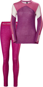 2019 Helly Hansen Womens HH Lifa Merino Crew Crew Base Layer Top & Trouser Set - Festival Fuchsia