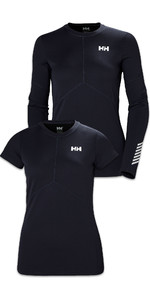 Helly Hansen Womens Lifa Active Light Long Sleeve & Short Sleeve Top Twin Pack Graphite Blue