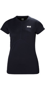 2019 Helly Hansen Womens Lifa Active Light Short Sleeve Top Graphite Blue 49328