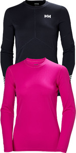 Helly Hansen Womens Long Sleeve Lifa Active Light Top Graphite Blue & Tech Crew Base Layer Dragon Fruit