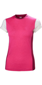 2019 Helly Hansen Womens Merino Light Short Sleeve Top Dragon Fruit 48367