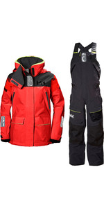 2019 Helly Hansen Womens Skagen Offshore Jacket & Trouser Combi Set - Alert Red / Ebony