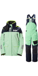2020 Helly Hansen Womens Skagen Offshore Sailing Jacket & Trouser Combi Set - Reef Green