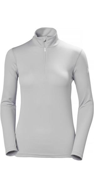 2018 Helly Hansen Womens Tech 1/2 Zip manches longues couche de base gris clair 48375
