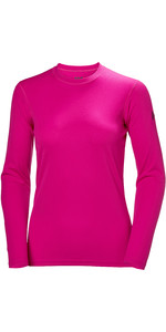 2019 Helly Hansen Womens Tech Crew Long Sleeve Base Layer Dragon Fruit 48374