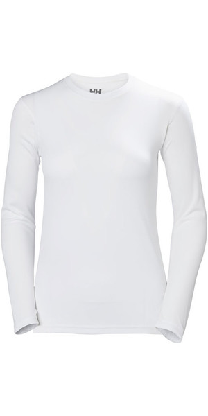 2018 Helly Hansen Womens Tech Crew Long Sleeve Base Layer White 48374