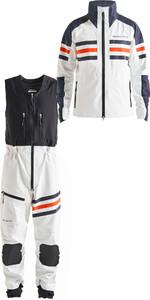 2019 Henri Lloyd Hommes Fremantle Stripe Veste Gore-tex & Salopettes Combi Set Cloud Blanc