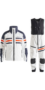 2019 Henri Lloyd Mens Fremantle Stripe Gore-Tex Jacket & Salopette Combi Set - Cloud White
