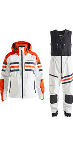 2019 Henri Lloyd Mens Fremantle Stripe Hooded Gore-Tex Jacket & Salopette Combi Set - Cloud White