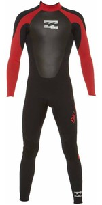 Billabong JUNIOR Intruder 5/4/3mm GBS Back Zip Wetsuit BLACK / RED 045B15