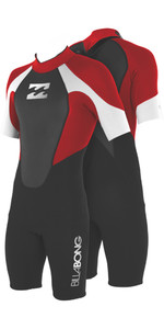 2019 Billabong Junior Intruder 2mm Back Zip Shorty Wetsuit Preto / Vermelho / Branco S42b08