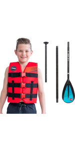 2020 Jobe Junior 50N Impact Vest & Red Paddle Co Kids Alloy 3-Piece SUP Paddle Package Deal - Red