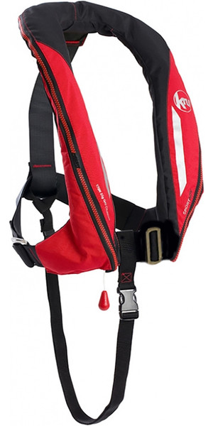 2019 Kru Sport 170N ADV Auto Lifejacket with Harness, Hood & Light Red LIF7361