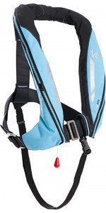 2019 Kru Sport 170N ADV Auto Lifejacket with Harness, Hood & Light Sky Blue LIF7365