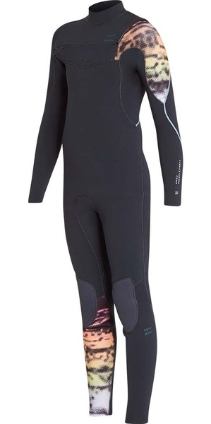 2018 Billabong Junior Four carbone 4 / 3mm Poitrine Zip Wetsuit Graphite L44B03