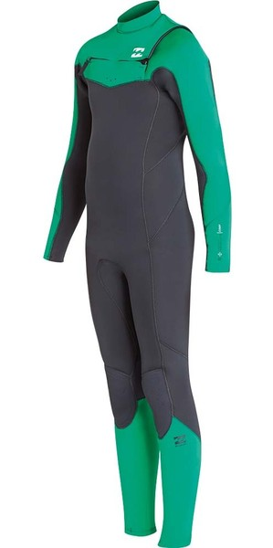 2018 Billabong Junior Four Absolute 4 / 3mm Poitrine Zip Wetsuit Vert L44B05
