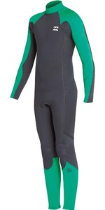 2018 Billabong Junior Fornecimento Absolute 5 / 4mm Voltar Zip Wetsuit Verde L45B06