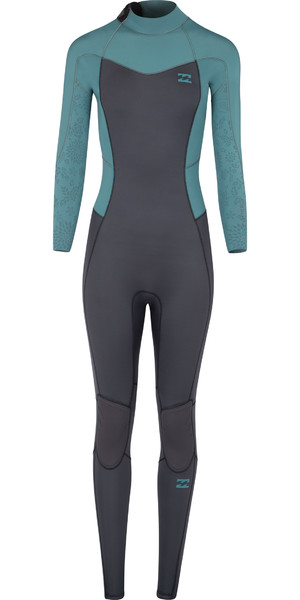 2018 Billabong Junior Sigarette Synergy 4 / 3mm Zip posteriore Muta zucchero di pino L44B02