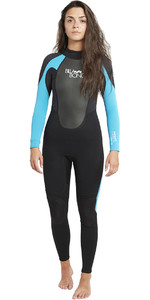 2019 Billabong Dames Launch 3/2mm Gbs Wetsuit Zwart / Turkoois Blauw 043g01