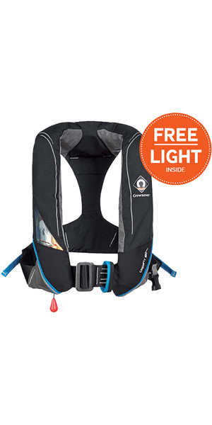 2018 Crewsaver Crewfit 180N Pro Manual With Harness Lifejacket Black 9025BKM + Free Light