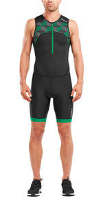 2018 2XU Aktiv Half Zip Trisuit BLACK / RETRO JOLLY GREEN MT4862d