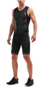 2019 2XU Mens Compression Full Zip Ärmelloser Trisuit Schwarz MT5517d