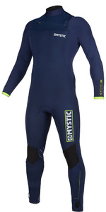 2019 Mystic Heren Marshall 4/3mm Wetsuit Met Chest Zip 200008 - Navy / Limoen