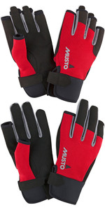 Musto Essential Sailing Long Finger & Short Finger Sailing Gloves Package - Red