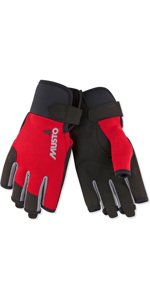 2019 Musto Essential Sailing Short Finger Gloves Red AUGL003
