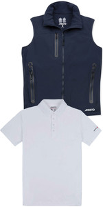Musto Herren Corsica BR1 Fleece gefütterte Gilet & Sunshield Wicking UPF30 Polo-Paket - True Navy / Weiß