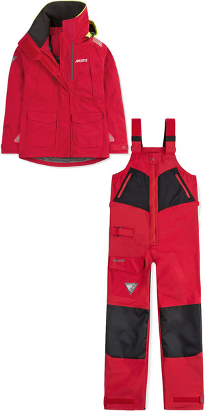 2018 Musto Womens BR2 Offshore Jacket & Trouser Combi Set Rojo