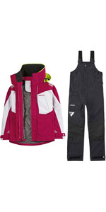 2020 Musto Womens BR2 Offshore Jacket & Trouser Combi Set - Cerise / White / Black