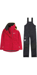 2019 Musto Womens BR2 Offshore Jacket & Trouser Combi Set - Red / Black