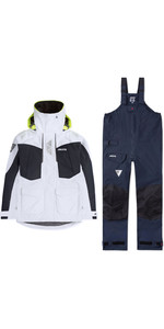 2019 Musto Womens BR2 Offshore Jacket & Trouser Combi Set - White / Navy