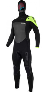 2019 Mystic Legend Hooded 5/3mm Wetsuit Met Chest Zip Zwart / Limoen 180000