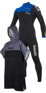 Mystic Drip 5 / 4mm Front Zip Wetsuit Blue & Regular Poncho / Skift Robe Sort / Grå