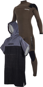 Mystic Majestic Chest Zip 5/3mm Wetsuit & Poncho Regular / Mudar Robe