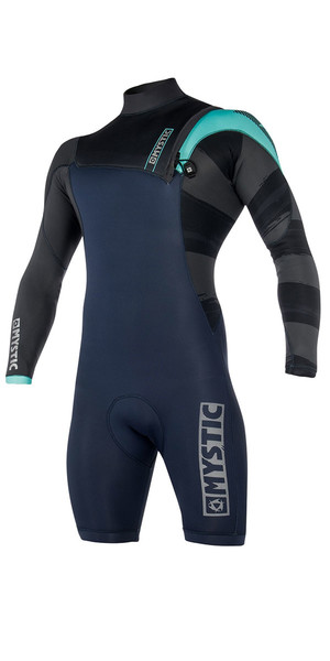 2018 Mystic Majestic ND 3/2mm Zip Free Long Arm Shorty Wetsuit Mint 180135