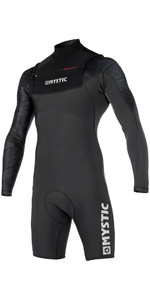 Mystic Stone 3/2mm Chest Zip Long Arm Shorty Wetsuit Black 170312