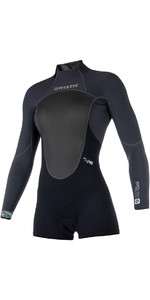 2019 Mystic Vrouwen Brand 3/2mm Back Zip Lange Arm Shorty Wetsuit Zwart 180.070