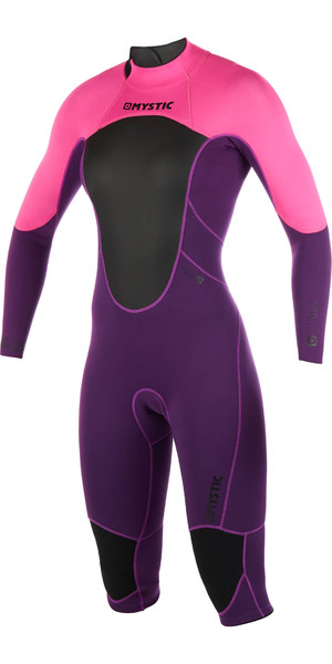 2019 Mystic Womens Brand 3/2mm Back Zip Long Arm Short Leg Wetsuit Purple 180068