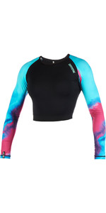2019 Mystic Womens Dazzled Long Sleeve Croptop Rash Vest Aurora 190102