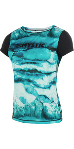2019 Mystic Womens Dazzled Short Sleeve Quick Dry Rash Vest Mint 190105
