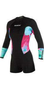 2019 Mystic Womens Diva 2mm Back Zip Long Arm Shorty Wetsuit Aurora 190083