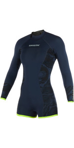 2019 Mystic Diva Dames 2mm Back Zip Lange Arm Shorty Wetsuit Navy 190083