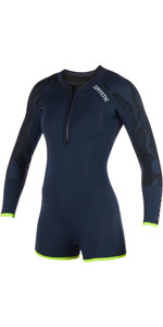 2019 Mystic Diva Dames 2mm Front Zip Lange Arm Shorty Wetsuit Navy 190177