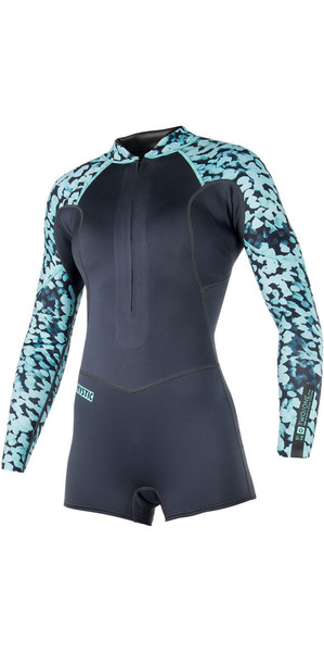 2018 Mystic Womens Diva 3 / 2mm Cremallera frontal Short Arm Shorty Wetsuit gris 180063