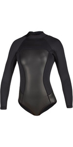 2020 Mystic Mulheres Diva Black Series Manga Comprida 2mm Back Zip Super Shorty Wetsuit 200078 - Preto
