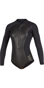 2020 Mystic Diva Black Series Manga Larga 2mm Front Zip Super Shorty Wetsuit 200077 - Negro