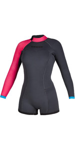 2020 Mystic De Las Mujeres Diva De Manga Larga De 2mm Back Zip Shorty Wetsuit 200072 - Gris Fantasma